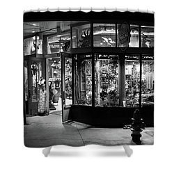 Magnolia Praline Company In Black And White Shower Curtain