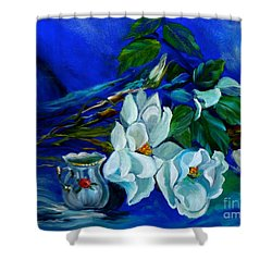 Magnolias And Cream Shower Curtain by Jenny Lee