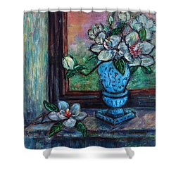 Magnolias In A Blue Vase By The Window Shower Curtain
