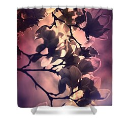 Shower Curtain featuring the pyrography Magnolias by Karen Kersey