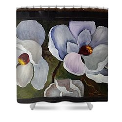 Magnolias White Flower Shower Curtain