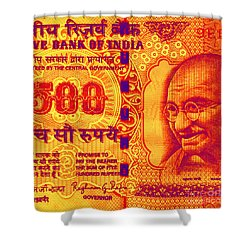 Shower Curtain featuring the digital art Mahatma Gandhi 500 Rupees Banknote by Jean luc Comperat