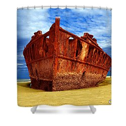 Maheno Shipwreck Fraser Island Queensland Australia Shower Curtain by Gary Crockett