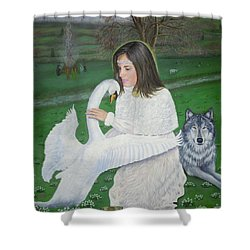 Maiden Goddess Brigit - Imbolc Shower Curtain