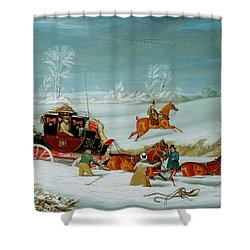 Mail Coach In The Snow Shower Curtain by John Pollard