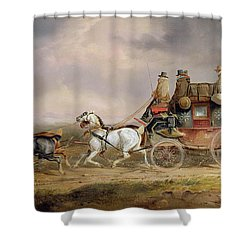 Mail Coaches On The Road - The Louth-london Royal Mail Progressing At Speed Shower Curtain by Charles Cooper Henderson