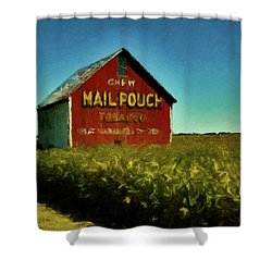 Shower Curtain featuring the painting Mail Pouch Barn P D P by David Dehner