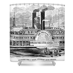 Mail Steamboat, 1854. /nthe Louisville Mail Company Steamboat Jacob Strader. Wood Engraving, 1854 Shower Curtain by Granger