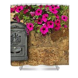 Mailbox With Petunias Shower Curtain by Silvia Ganora