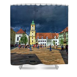 Main Square In The Old Town Of Bratislava, Slovakia Shower Curtain