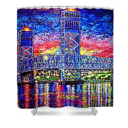 Shower Curtain featuring the painting Main St. Bridge by Viktor Lazarev
