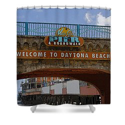 Main Street Pier And Boardwalk Shower Curtain by David Lee Thompson