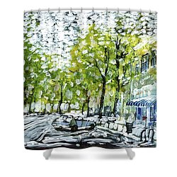Main Street Snow Shower Curtain
