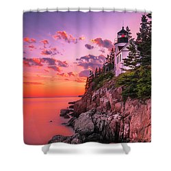 Shower Curtain featuring the photograph Maine Bass Harbor Lighthouse Sunset by Ranjay Mitra