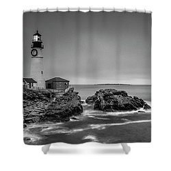 Maine Cape Elizabeth Lighthouse Aka Portland Headlight In Bw Shower Curtain