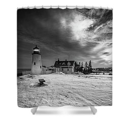 Maine Coastal Storm Over Pemaquid Lighthouse Shower Curtain