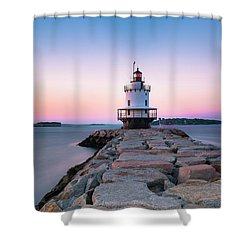 Maine Coastal Sunset Over The Spring Breakwater Lighthouse Shower Curtain