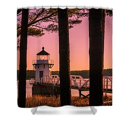 Maine Doubling Point Lighthouse At Sunset Panorama Shower Curtain