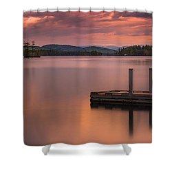 Maine Highland Lake Boat Ramp At Sunset Shower Curtain