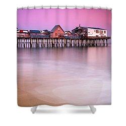 Maine Old Orchard Beach Pier Sunset  Shower Curtain