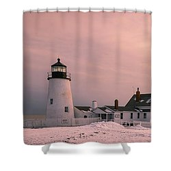 Maine Pemaquid Lighthouse After Winter Snow Storm Shower Curtain