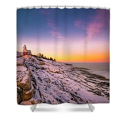 Maine Pemaquid Lighthouse In Winter Snow Shower Curtain
