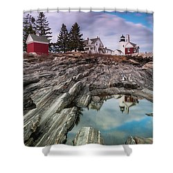 Maine Pemaquid Lighthouse Reflection Shower Curtain