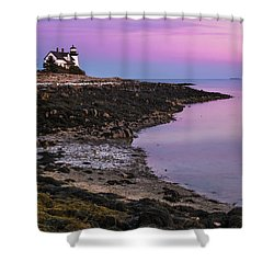 Maine Prospect Harbor Lighthouse Sunset In Winter Shower Curtain