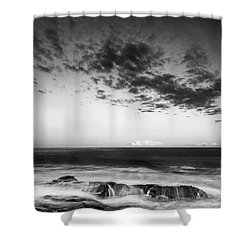 Maine Rocky Coast With Boulders And Clouds At Two Lights Park Shower Curtain
