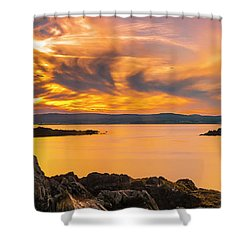 Maine Rocky Coastal Sunset In Penobscot Bay Panorama Shower Curtain