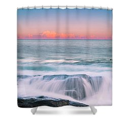 Maine Rocky Coastal Sunset Panorama Shower Curtain