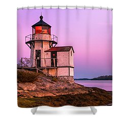 Maine Squirrel Point Lighthouse On Kennebec River Sunset Panorama Shower Curtain