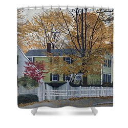 Autumn Day On Maine Street, Kennebunkport Shower Curtain