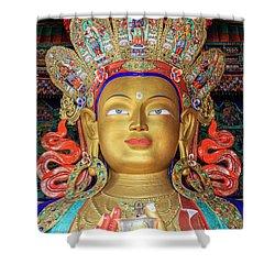 Shower Curtain featuring the photograph Maitreya Buddha Statue by Alexey Stiop