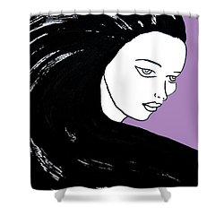 Majestic Lady J0715h Radient Orchid Pastel Painting 18-3224 B565a7 A985bb Shower Curtain