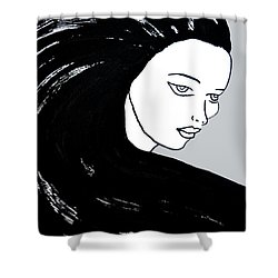 Majestic Lady J0715i Shadow Gray Pastel Painting 16-1509 Bba5a0 C6cacc Shower Curtain