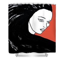 Majestic Lady J0715j Tangerine Tango Orange Pastel Painting 17-1463  E1523d F0532a Shower Curtain