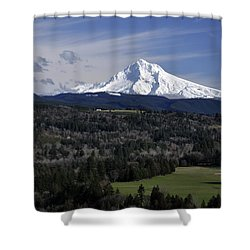 Shower Curtain featuring the photograph Majestic Mt Hood by Jim Walls PhotoArtist