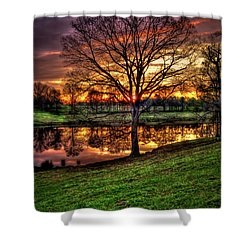Shower Curtain featuring the photograph Majestic Sunrise Reflections by Reid Callaway