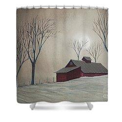 Majestic Winter Night Shower Curtain by Charlotte Blanchard