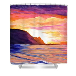 Makana Sunset Shower Curtain by Marionette Taboniar