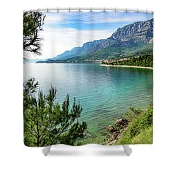Makarska Riviera White Stone Beach, Dalmatian Coast, Croatia Shower Curtain