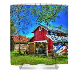 Shower Curtain featuring the photograph Make America Great Again Barn American Flag Art by Reid Callaway