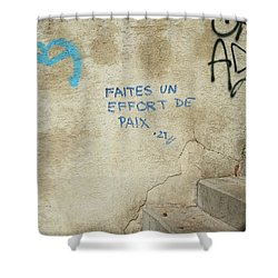 Make An Effort For Peace Shower Curtain by Colleen Williams