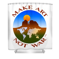 Make Art Not War Logo Shower Curtain