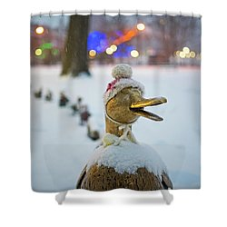 Make Way For Ducklings Winter Hats Boston Public Garden Christmas Shower Curtain