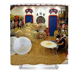 Making Chinese Paper Umbrellas Shower Curtain by Yali Shi