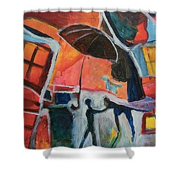 Shower Curtain featuring the painting Making Friends Under The Umbrella by Susan Stone