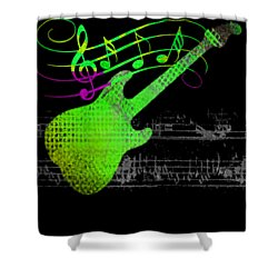 Shower Curtain featuring the digital art Making Music by Guitar Wacky