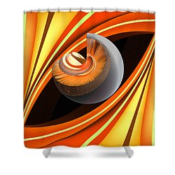 Shower Curtain featuring the digital art Making Orange Planets by Angelina Vick